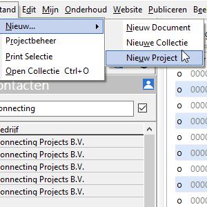 Een nieuw project maken (Projectbeheer; CTRL+N) #15