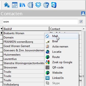 Mailen naar contact