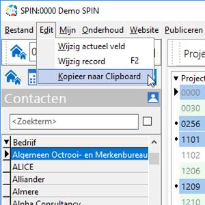 Exporteren van SPIN data hier projectgegevens